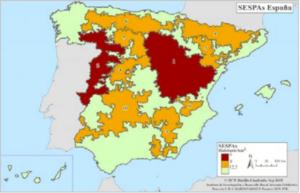 habitantes por km2). Fuente: SEPAS. Figura 2: Porcentaje CCAA que ha perdido 1998 hasta 2018. Fuente: La rentabilidad de los cultivos extensivos es cada vez más limitada en España debido a su dependencia de las ayudas de la PAC que en los últimos años han ido Foto 1. Plantación de 'Soleta' autoenraizada en seto en el inicio de su cuarto año de plantación en Villarobledo (Albacete). Figura 1. Mapa de las zonas de España en las que la densidad de población es más baja (rojo, por debajo de 8 habitantes por km2; naranja, por debajo de 12,5 habitantes por km2). Fuente: SEPAS.