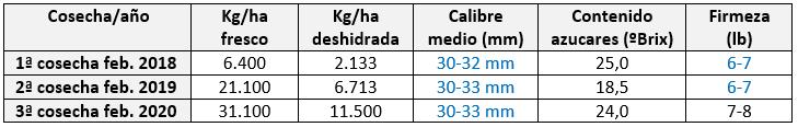 Tabla 3.- Producciones y parámetros de calidad de la ciruela d'Agen en seto correspondientes a los años 2018, 2019 y 2020 en Agrícola San Miguel (O'Higgins, Chile).