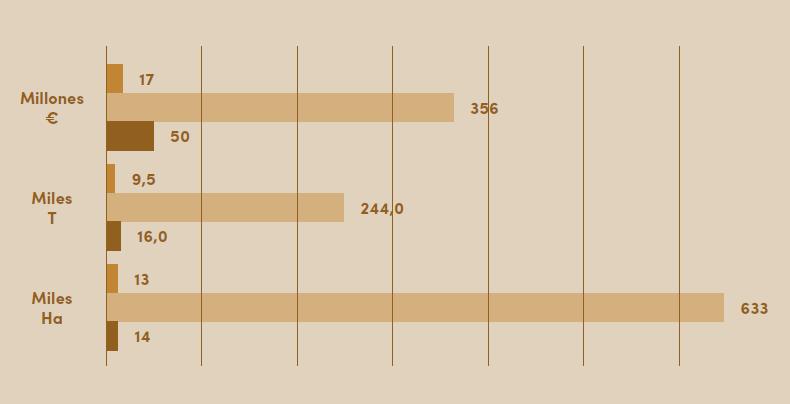 Figura 5. Superficies ocupadas en España por el avellano, almendro y nogal, producciones en cascara y valor de las mismas para el año 2018. Fuente MAPA.
