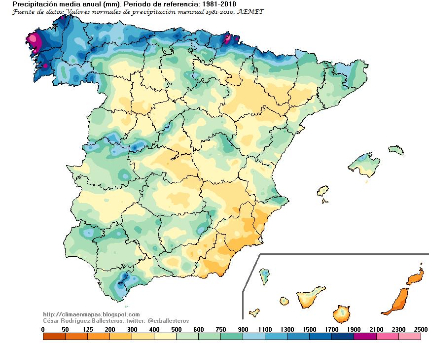 Figura 7. Mapa pluviométrico de España con cinco clases de pluviometría. Fuente: Iglesias, 2020.